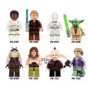Generic 80pcs Star Wars The Last Jedi Mace Windu Santa Jango Fett Luminara Resistance Soldier Trooper Building Blocks for Children Toys PG8049