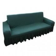 Husa elastica bicolora/gofrata cu bumbac cu volan pentru canapea 3 locuri TRADE STORE DELIVERY Bumbac si Poliester Verde menta/smarald