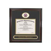 """Signature Announcements """" Universidad de Washington-Tacoma Undergraduate, Profesional/Doctor Sculpted Foil Seal & Nombre Marco de Diploma de graduación 16"""" x 16"""" Brillante Caoba con Acento de Oro"""