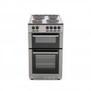 Belling FS50EFDO Silver Solid Plate Electric Cooker with Double Oven
