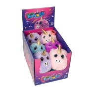 Jucarie Squishy pufoasa din plus Keyraft, model Unicorn Neon, 3 ani+