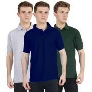 FUEGO Fashion Wear Combo Of Polo T-shirt For Men- Pack Of 3 FG-3CM-POLO-BLK-GY-DG