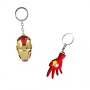 Holy Bell Keychain Keying Iron Man Face and Hand Shining Pendant Key Chains Key Ring
