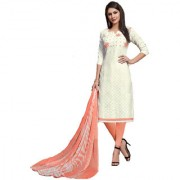 Polly Trends Women's Cotton Salwar Kameez Suits Unstitched Dress Material with chiffon dupatta (WHITE & PINK)