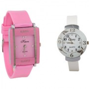 i DIVA'S Combo Of Two Watches-Baby Pink Rectangular Dial Kawa And White Circular Glory Watch