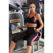 Terry női 3/4-es fitness leggings rózsaszín csíkokkal M