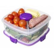 Cutie alimente cu bol dressing si tacamuri din plastic Sistema Salad To Go 1.1L