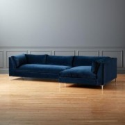 Decker 2-Piece Blue Velvet Sectional Sofa by CB2