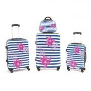 JUSTGLAM Set 3 valigie + beauty in abs leggero c/4 ruote