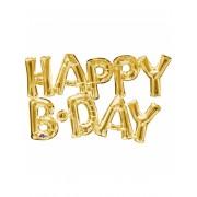 Vegaoo Happy Birthday - Aluminium ballong i guld 76 cm One-Size
