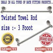 SHRUTI (Nikku) Twisted Stainless Steel Bathroom Towel Rod / Towel Stand / Towel Holder / Towel Rack for routine use of Bathroom Accessories - 3 Foot Long (1613)