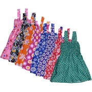 IndiWeaves Baby Girls Cotton Sleevless Printed Frock (Pack of 8)