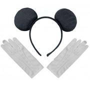 DangerousFX Black Mickey Mouse Disney Fancy Dress Ears Headband + Gloves Set