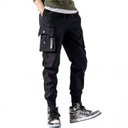 AKDSteel Men Fashion Loose All Match Sports Ninth Pants Overalls Black M