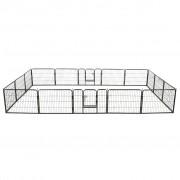 vidaXL Заграждение за куче, 16 панела, стомана, 60x80 см, черно