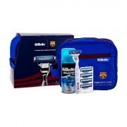 Gillette Mach3 Turbo FC Barcelona Rasierer mit einer Klinge 1 St + Ersatzklinge 4 St + Rasiergel Extra Comfort 75 ml + Kosmetiktasche für Männer
