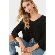 Forever21 Drop-Shoulder Chenille Sweater BLACK