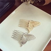 AUCH 1Pair Elegant Butterfly Hair Pin Clip Cuff Claw Side Comb Siver/Gold