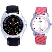Black Dial And Pink Peacock Couple Analogue Watch By Vivah Mart