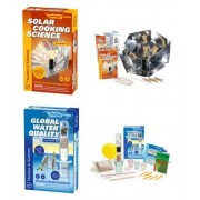 2 Item Bundle: Thames & Kosmos Solar Cooking and Global Water Quality Science Experiment Kits + Free Activity Coloring Book