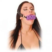 """Латексов цилиндър за уста с дупки """"FETISH"""" 8 cm."""