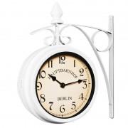Dwustronny Zegar Ścienny Dworcowy Retro Biały