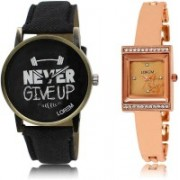 LOREM SR-27-220 Attractive Rose Gold & Black Square & Round Boy's & Girl's Metal Bracelet & Leather Watch - For Men & Women