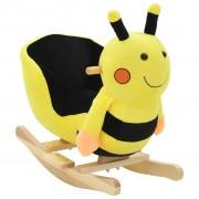 vidaXL Люлееща се земна пчела с плюшена облегалка, 60x32x57 см, жълта