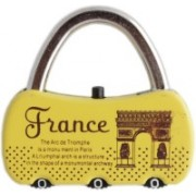 Tootpado Number Lock For Bags France - Yellow (6LNT191) - Combination Padlock Safety Lock(Yellow)