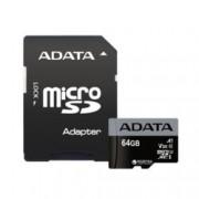 64GB microSDXC с адаптер, A-Data Premier Pro, Class 10 UHS-I, скорост на четене 100MB/s, скорост на запис 60MB/s