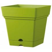 Vierkante bloempot 38 cm olijfgroen (wieltjes & waterreservoir)