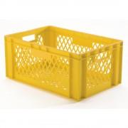 Euro-Format-Stapelbehälter, Wände und Boden durchbrochen LxBxH 600 x 400 x 270 mm gelb, VE 5 Stk
