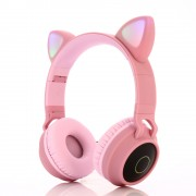 Cute Cat Ear Bluetooth 5.0 Headphones Foldable On-Ear Stereo Wireless Headset with Mic - Pink
