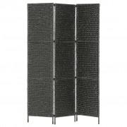 vidaXL Параван за стая, 3 панела, черен, 116x160 cм, воден хиацинт