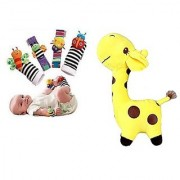 Kuhu Creations Cute Stylish Soft Toy Baby Rattles.(5 Units Style A Giraffe.Yellow + Multicolor 2 Wrist 2 Foot Ratt