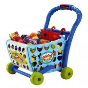 Peepal Shop Shopping Cart Pretend Play Toy with Food Fruits Vegetables and Lights Pink (56 Pcs Set)