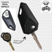 Flip Key Right Cut White color Blank Key for Logo Royal bullet Enfield - Standard / Electra / Classic - 350/500