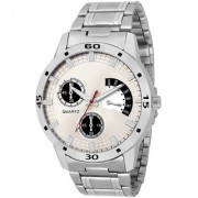 New Fogg White Silver Metal Strep Latest Designing Stylist Looking Professional Analog Watch For Men