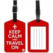 Nutcaseshop KEEP CALM TRAVEL ON -RED Luggage Tag(Multicolor)