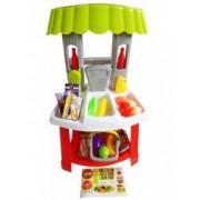 Jucarie set Supermarket cu 18 Produse Alimentare Mini Cos de Cumparaturi si Telefon
