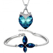 Om Jewells Blue Crystal Jewellery Combo of Heart Pendant and Bracelet made for Girls and Women CO1000168