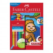 Set creioane color Faber-Castell Grip 12 culori + carte colorat pixel