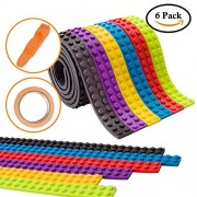 6 Rolls Building Block Tape(3ft/Roll),Self Adhesive Baseplate Strips for Kids,Non-toxic Cuttable Reusable,Lego Tape for Building Brick Base Plates for Lego Toys,Perfect for Kids of All Ages