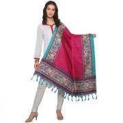 Meia Red and Turquoise Colored Animal Printed Bhagalpuri Silk Dupatta