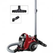 Прахосмукачка без торба Bosch, 700 W, Хигиенен филтър PureAir, Четка за паркет, Регулируема приставка за под, Червено чили, BGC05AAA2