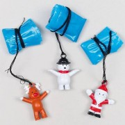 Baker Ross Christmas Character Parachutists - 4 Flying Xmas Toys in 4 Assorted Designs. Size 35mm.
