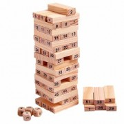 New Pinch Wooden Blocks 54 Pcs with 4 dice Tumbling Stacking Building Tower Game (22 x 8 x 8 cm) Best Educational Toy