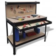vidaXL Работна маса с чекмедже и стена за инструменти