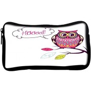 Snoogg cute vector owl hoooot cardPoly Canvas Student Pen Pencil Case Coin Purse Utility Pouch Cosmetic Makeup Bag
