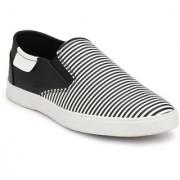 Wonsar Men's Black White Lining Perfect Stylish Slip on Canvas Shoes